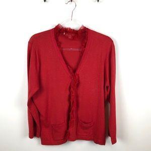 CAbi Red Ruffle Trim Caridgan Sweater 165 XL